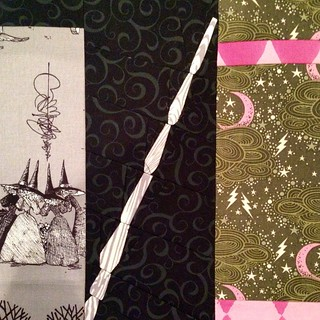 Block 14 #ElderWand ❤️⚡️ I've been saving my @tulapink #stormclouds for the perfect block!  I'm also obsessed with the Witches from #AlexanderHenry #theghastlies #projectofdoom #pod2015 #talesofbeedlethebard #harrypotter #potterhead #quilting #q
