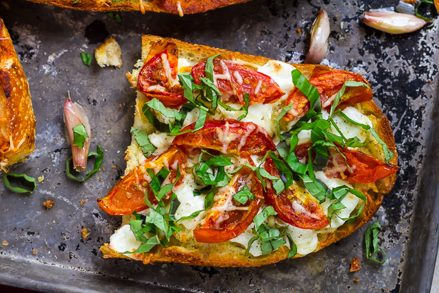Roasted Garlic Margherita French Bread Pizza