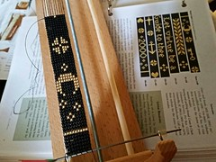 110, Working on a new project & bead loom (with only 2 warp threads to worry about - yay!)