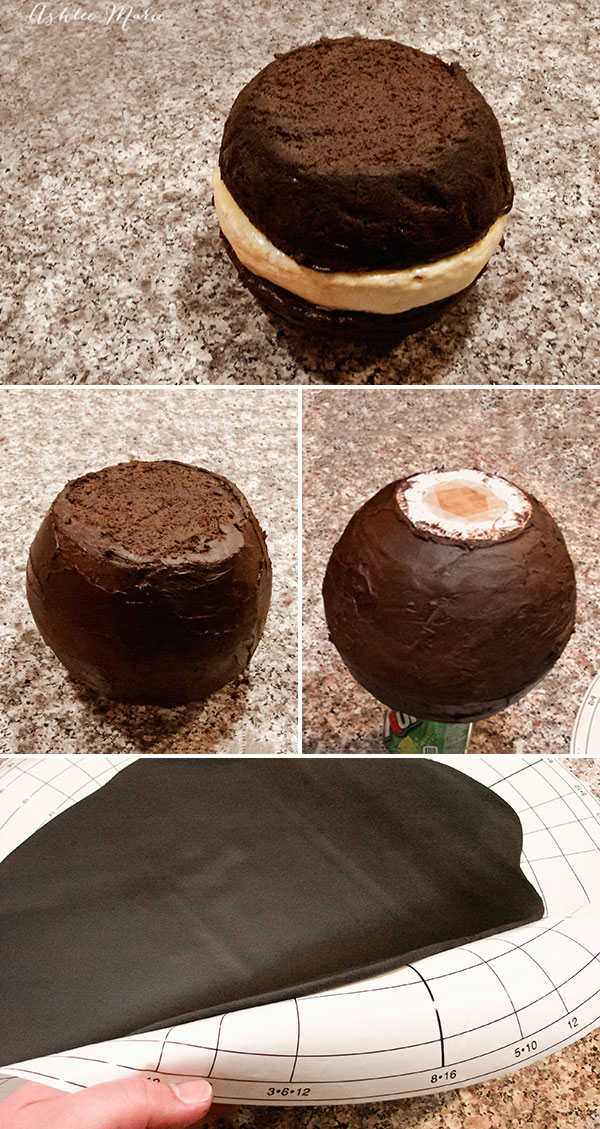 layer everything together with ganache, trim the top and roll out the fondant