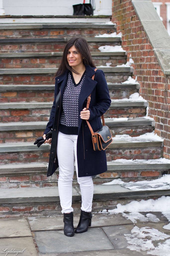 vintage sweater, white denim, navy coat.jpg