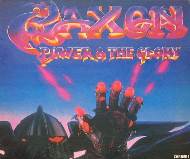 """SAXON POWER AND THE GLORY NWOBHM CARRERE FRANCE 12"""" VINYL LP"""