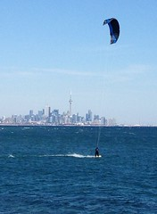 Kiteboarding on Lake Ontario in March