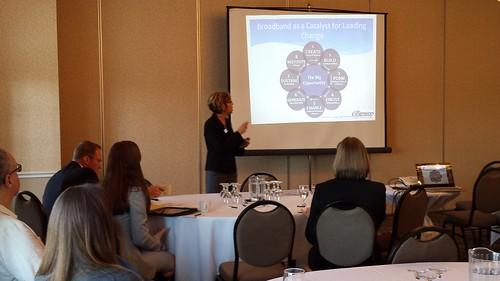 Center Director Maria Alvarez Stroud presents Kotter's 8-Steps for Organizational Change Model
