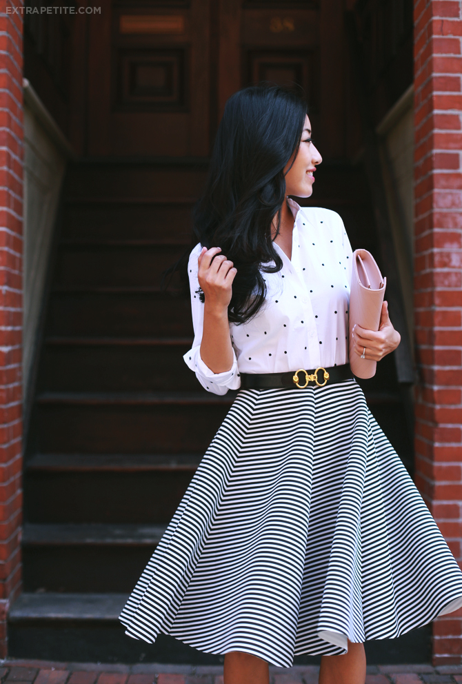 Ann Taylor dot shirt stripe skirt outfit