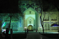 Nadir Divanbegi Madrassa at night, Bukhara, Uzbekistan
