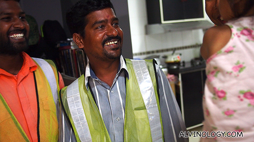 Muthukumar and Shanmuganathan broke into wide grins upon seeing little Naurah at her flat yesterday