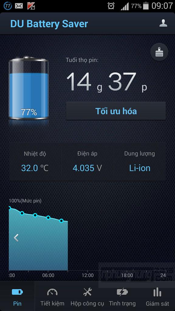 Đánh giá phần mềm tiết kiệm pin DU Battery Saver