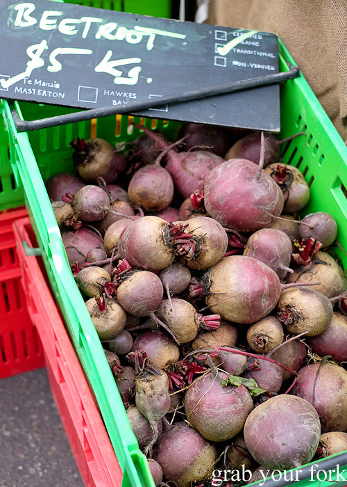 Fresh beetroot at Thorndon Farmers' Market, Wellington