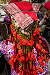 Headress of the Red Dao tribe, Sapa, northern Viet Nam.