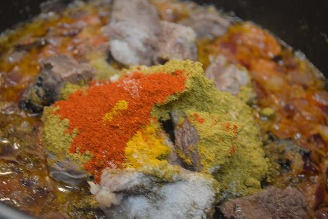 Once The Raw Smell Gof Ginger Garlic Paste Is Gone Add Tomato Do Same With And Beef Chilly Turmeric Coriander Powders Salt Too