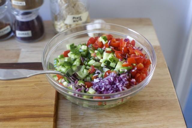 a tomato-cucumber salad relish