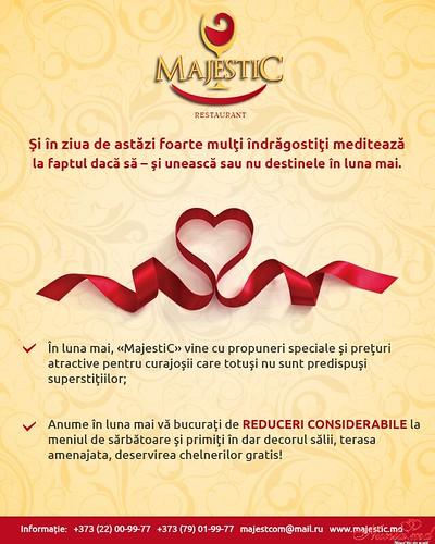 """""""MajestiC"""" - modern, deosebit, accesibil!  > Cea mai incintantă ofertă a primaverii din partea restaurantului """"Majestic''"""