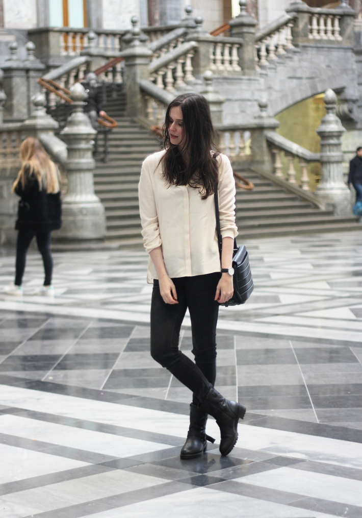 outfit: silk blouse, skinny jeans, motor boots