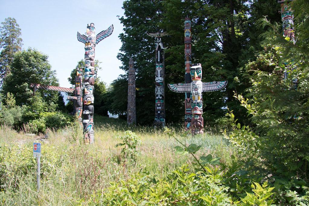 Totem poles in Stanley Park in Vancouver