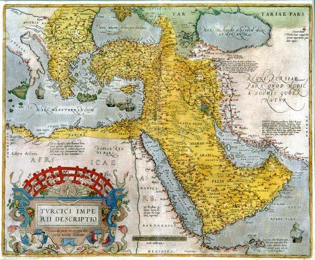 Ottoman Empire after Ottoman-Mamluk War. From the Theatro d'el Orbe by Abraham Ortelius