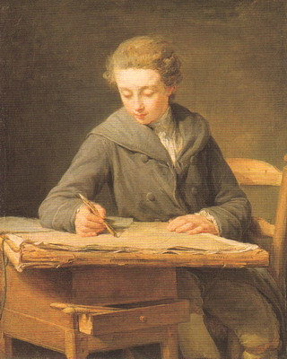 素描する少年