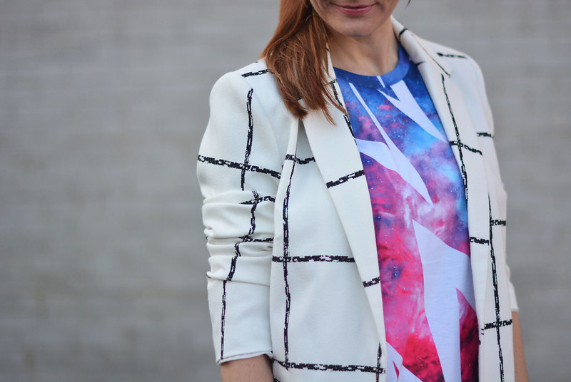 Mixed patterns: Windowpane check coat, graphic t-shirt