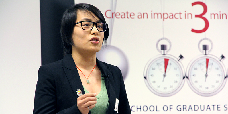 Chenman Yin is the winner of the Three Minute Thesis competition for Queen's. She will proceed the provincial final on April 23.