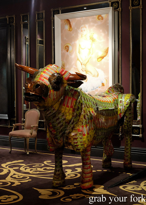 Pisupo Lua Afe bull made from Pacific corned beef tins at Museum Hotel, Wellington