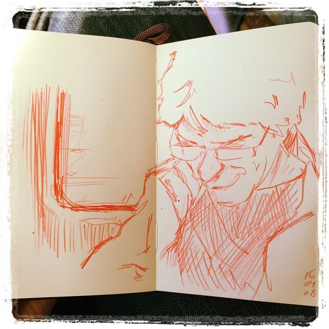 #urbansketch #portrait #train #mechanicalpencil #kurutoga
