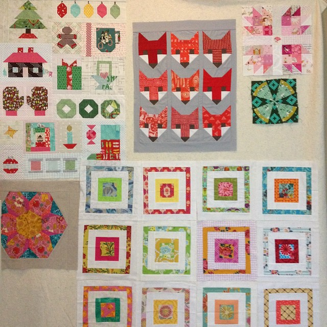 Here's what is #onmydesignwall - #haveyourselfaquiltylittlechristmas   Quilt top #fancyfoxquilt   Lone scrappybearpaw   #steampunk blocks and my march #havendgs #dogoodstitches random! Now show me what's on yours!