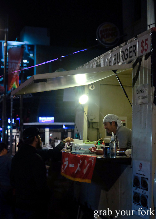 Ramen and rice burgers from Matsuda Shouten at Wellington Night Market on lower Cuba Street