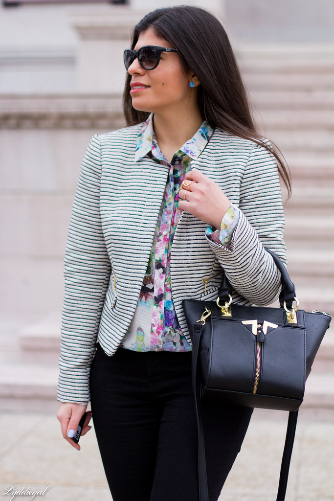 striped blazer, floral shirt, black pants, ballet flats-2.jpg