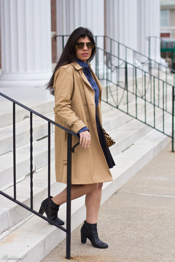 blue linen shirt, black skirt, trench coat-1.jpg