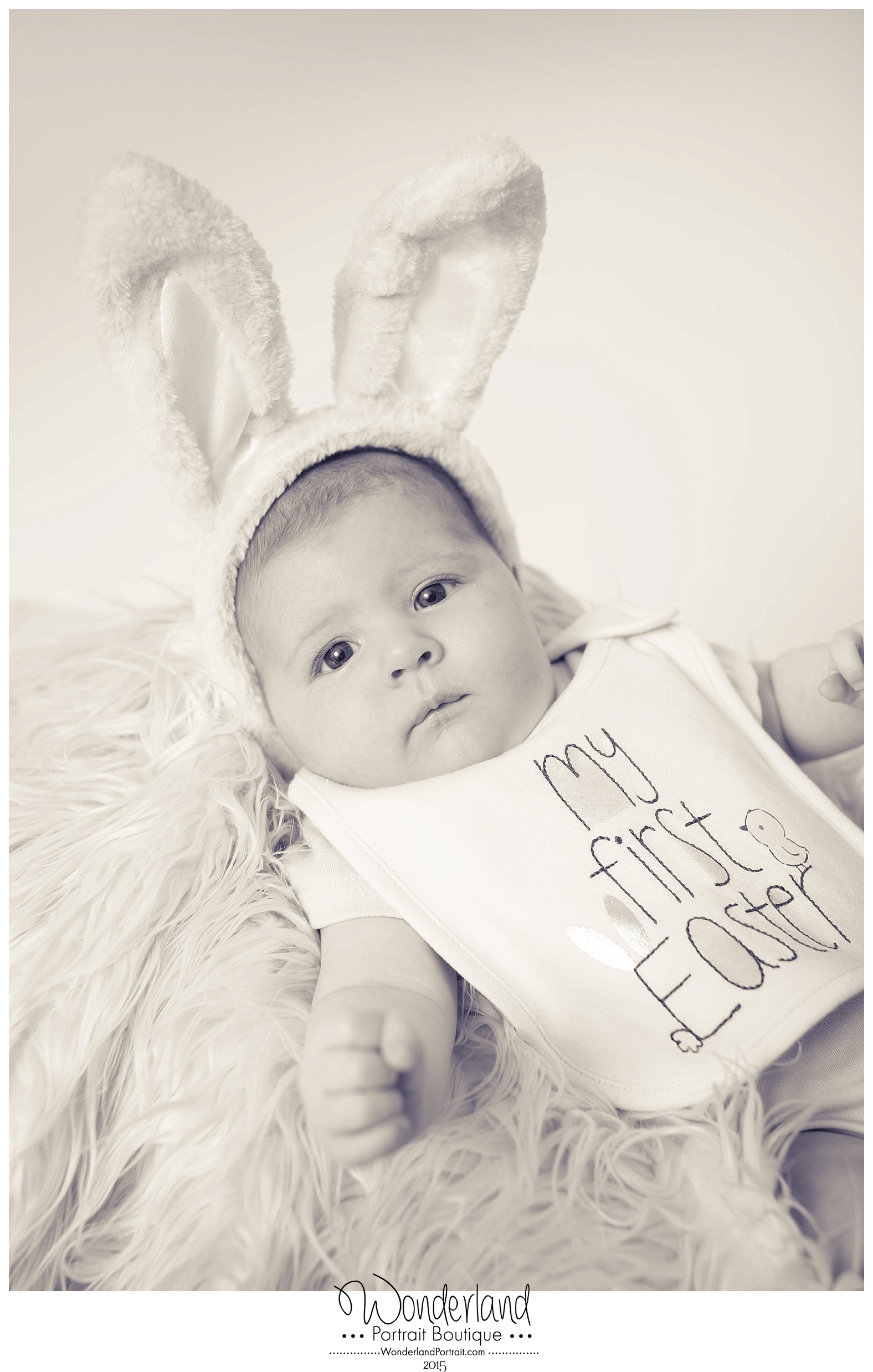 Baby in Bunny Ears Newtown PA Photographer WonderlandPortrait.com