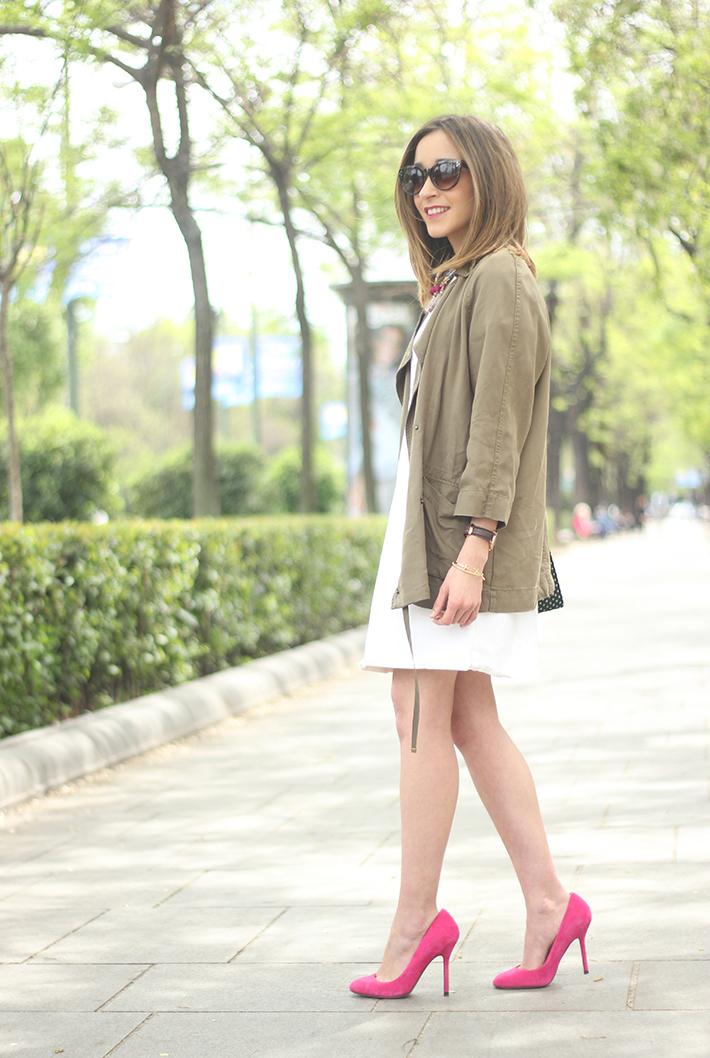 White denim Dress Khaki trench19