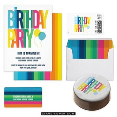 This is part of my Colourful Birthday Party collection I did for @zazzle It includes party invitations, stamps, envelopes, address labels, sweets and more! #birthday #party