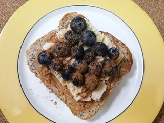 Peanut Butter, Banana, Blueberries, Cinnamon on Toast