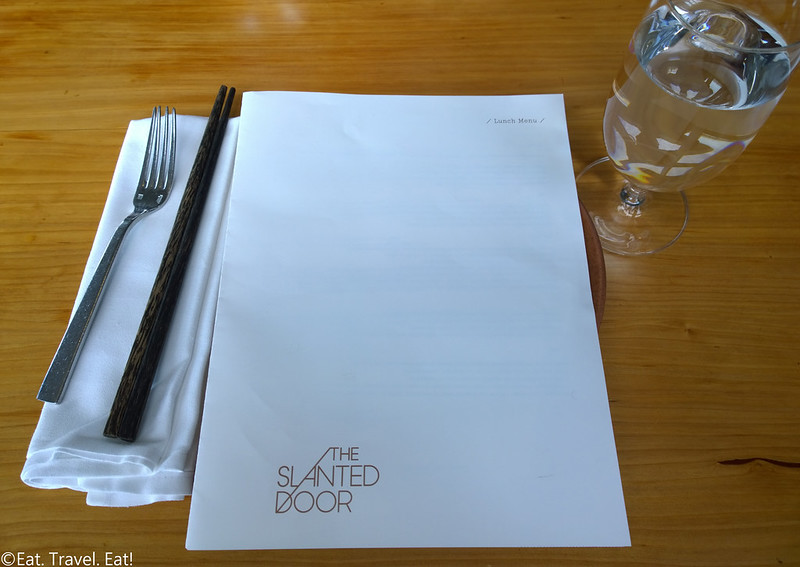 The Slanted Door- San Francisco (Ferry Building Marketplace), CA: Placesetting