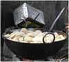 Kachories being fried in a roadside shop