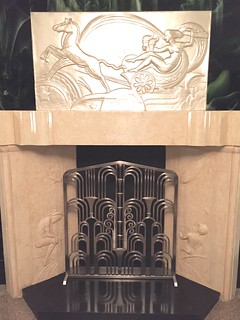Art Deco Fireplace Grill in its new home in a Vintage Deco Buildings Lobby in NY