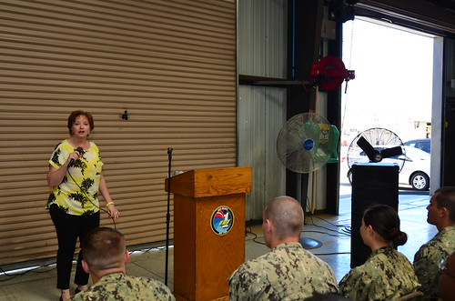 Coronado, Cali. - Retired Navy Counselor Master Chief Petty Officer Laura Paquian visits BMU-1 as the guest speaker for Women's History Month.