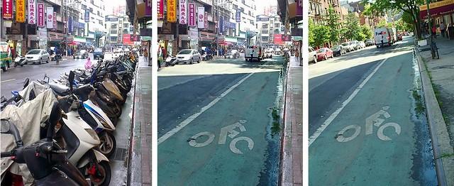 照片是以紐約曼哈頓近年來暴增的單車道及全面禁止路邊停車(右),與台大公館附近混亂現狀(左)所合成(中)。這個城市要50萬個路邊免費停車位,還是500公里安全的單車專用道?圖片來源:高志文