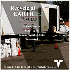 Recycle at EARTHfest in 4 days! The recycle drive-thru will be located in the main Cimarron Recreation Center parking lot, just north and south of Red River Trail.   Click the link below to register.   http://www.eventbrite.com/e/valley-ranch-earthfest-ti