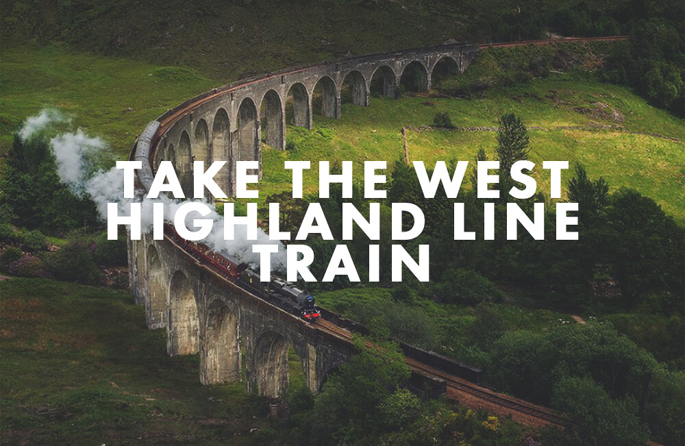West Highland Line Train passing Glenfinnan Viaduct