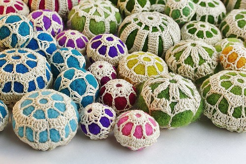 crochet covered felt balls....