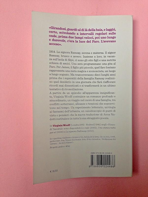 Virgina Woolf, Gita al Faro. Einaudi 2014. Progetto grafico di 46xy. Quarta di copertina (part.), 1