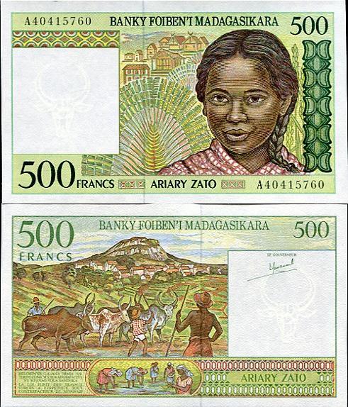 500 Francs=100 Ariary Madagaskar 1994