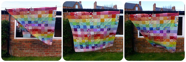 Scrappy Rainbow Quilt top