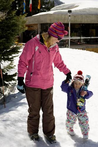 Jill and Sage Adler spring skiing