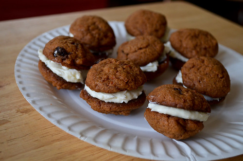 Carrot Cake Sandwich Cookies with Cream Cheese Icing