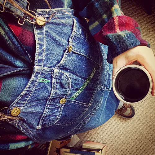 Day 28: The simple things. I have coffee and I'm wearing overalls. Not a bad tonic for Saturday after a crappy week. #takentodaymarch15 #overalls #vintage #coffee