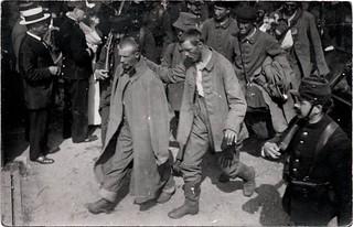 [La guerre 1914 à Toulouse. Arrivée des prisonniers allemands à Toulouse]. Gare Saint-Agne (quartier Saint-Agne), avenue de l'URSS et impasse Jean-Pierre-Moulive. 30 août 1914.