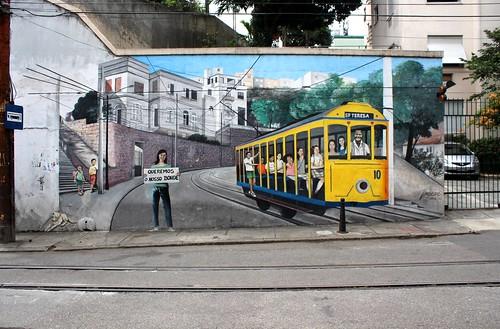 IMG_0436/Brazil/Rio De Janeiro/ Santa Térésa/ Bonde's Tram Painted on Wall Street