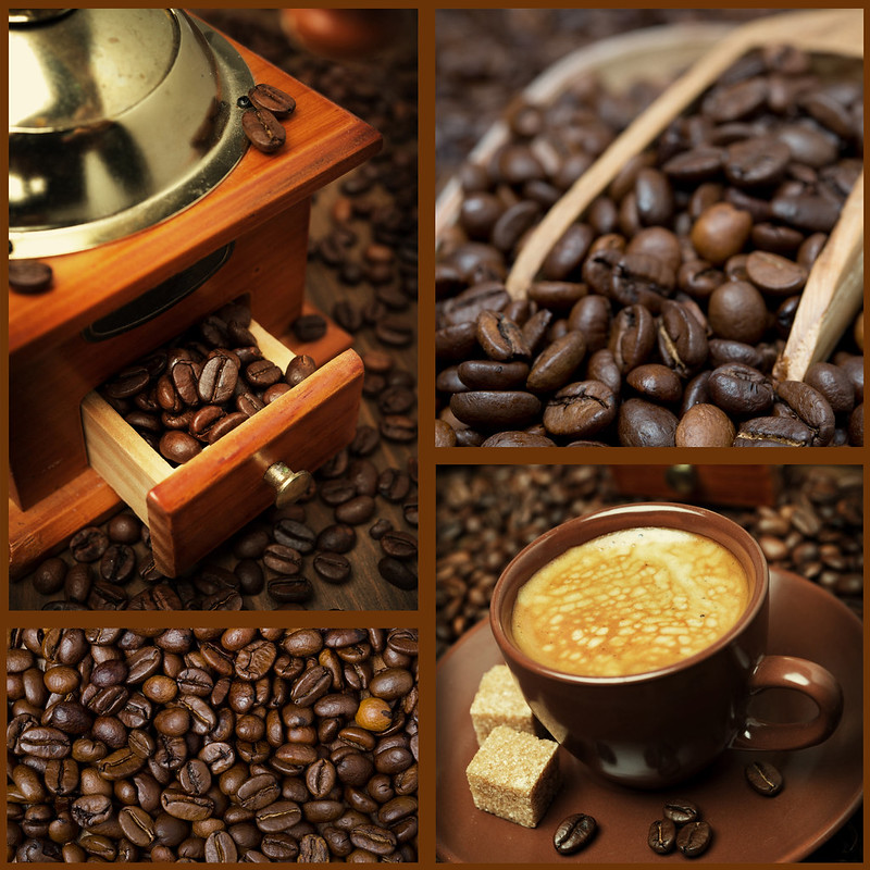 collage with photos of coffee